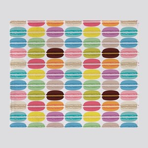 Rainbow French Macarons Pattern Throw Blanket